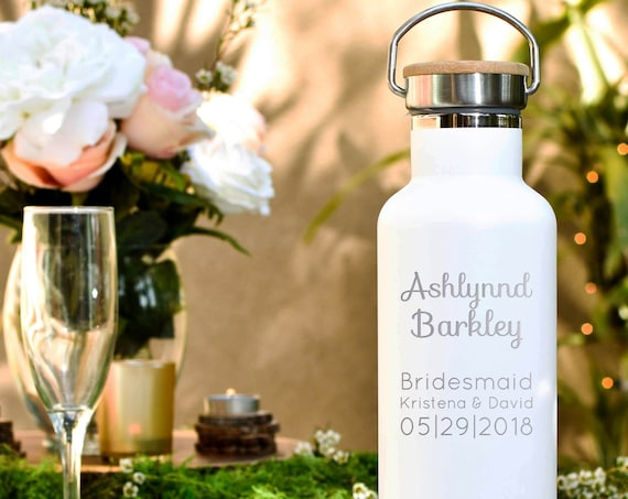 Bridesmaid Gifts - Custom Engraved Bottle  | Maid of Honor Gift | 6 Color Choices Available