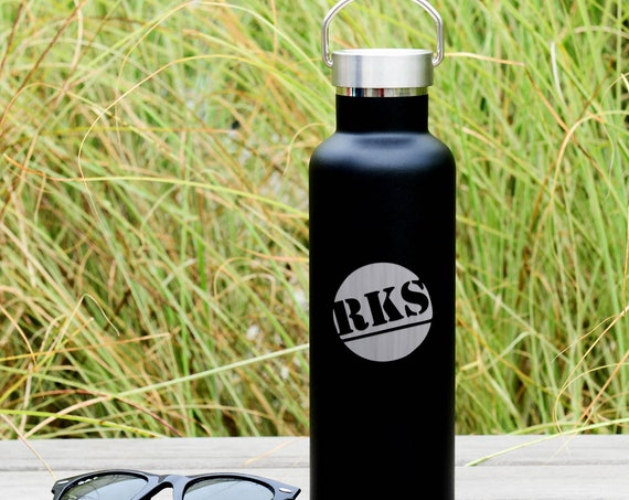 Custom Engrave 3-Letter Monogram on Insulated Water Bottle 750ml | Wedding Party Gifts |  Bridesmaids' Gifts | Groomsman | Bridal Party Gift