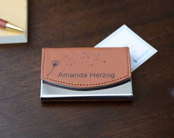 Personalized Leather Business Card Case - Choose From 36 Designs | Custom Business Card Holder