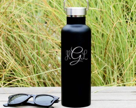 Cursive 3 Letter Monogram Engraved on Insulated Water Bottle 750ml | Bridesmaids' Gifts | Wedding Party Gifts | Bridal Party Gifts