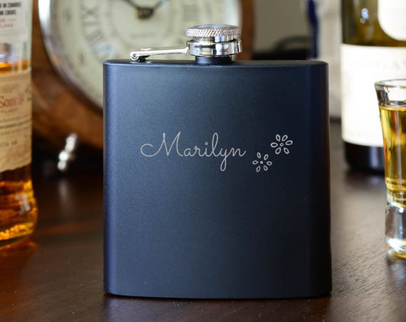 Personalized flask | bridesmaid flask | maid of honor flask | matron of honor flask | name on flower flask | wedding party gift | #FB0119