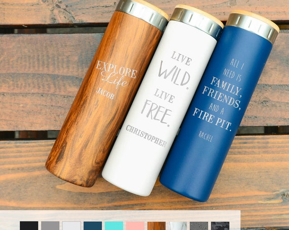 Personalized Camping Gift Stainless Steel Water Bottle 20oz | Elemental Iconic Insulated Bottes | Best Gift for Birthdays and Holidays