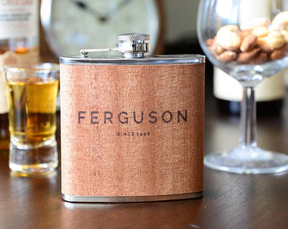 Personalized Flask | Wooden Flask Birthday Gift | Groomsman's Flask |  Bridesmaids' Gifts | Groomsmen Gifts | Wedding Party Gift | Best Man