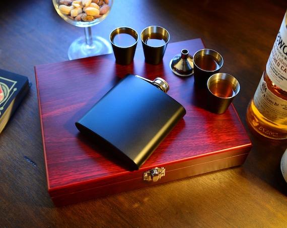 Flask Set in Wooden Box | groomsmen flask | best man flask | wedding party gift | FSW000