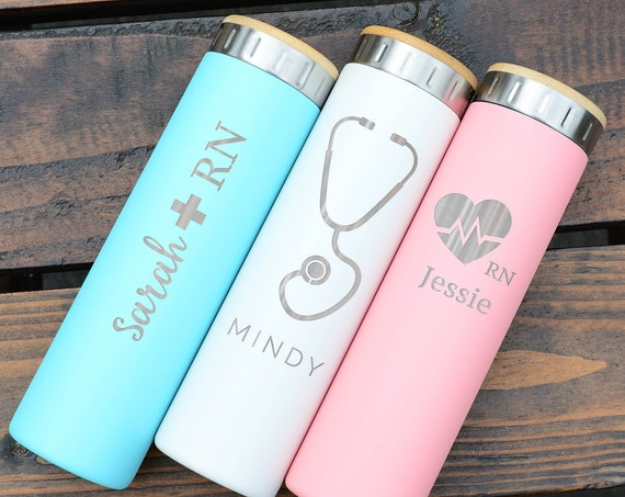 Designs For Teach & Nurses | Best Gift Stainless Steel Water Bottle 20oz | Elemental Iconic Insulated Bottes | Best Gift for Professionals