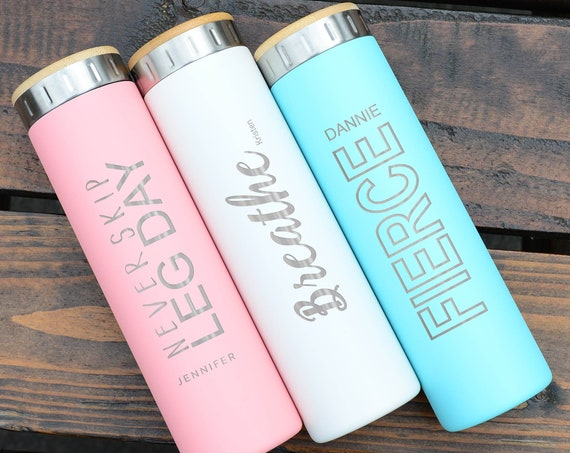 Fitness Personalized Stainless Steel Water Bottle 20oz   Elemental Iconic Insulated Bottes   Best Gift for Active, Fitness Lovers Birthday