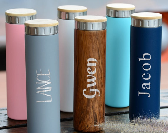 Personalized Name Gift 20oz Stainless Steel Bottle | Elemental Iconic Insulated Bottes | Best Gift for Birthdays and Holidays | Custom Logo