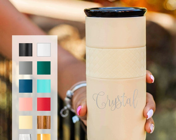Personalized Insulated Stainless Steel Coffee Tumbler 16oz with CERAMIC Lid - 6hrs hot | 18 hrs cold | Best Gift for Coffee Lovers