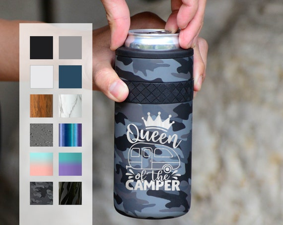 Personalized Can Cooler   Custom Engraved 12oz Elemental Slim Can Cooler   Insulated Beverage Holder, Seltzer Can Cooler, Birthday Gift