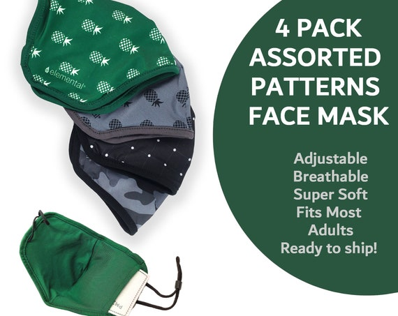 Variety Pack of Adjustable Face Masks - Moisture Wicking Masks with Filter Pocket   Black Camo - Pineapple - Polka Dots   Comfortable Fit