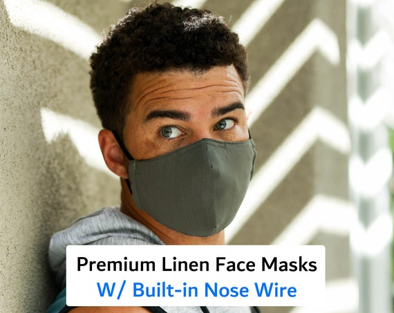 Nose Wire Face Masks, Anti-Fog Masks, 3 layers Adult Cloth Masks with Nose Wire - Adjustable Ear straps, Linen and Cotton Face Masks