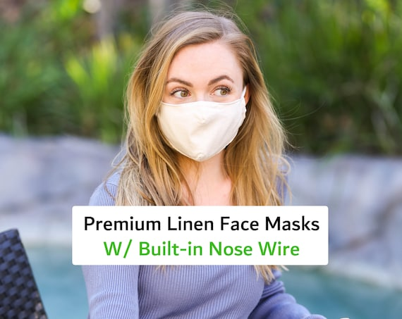 Nose Wire Mask For Adults, Anti-fog Masks, Made with Linen and Cotton 3 layers- Filter Pocket, Adjustable Ear Straps, Fashion Masks