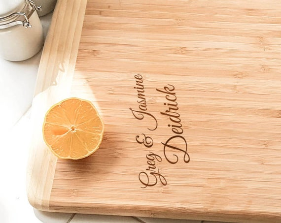 "Personalized Large Two-Tone Bamboo Cutting Board 18""x12"" 