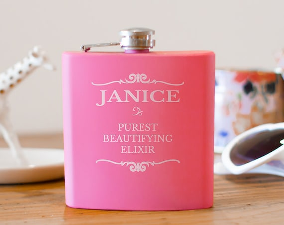 Personalized flask | bridesmaid flask | maid honor flask | birthday flask | name on flask | bachelorette gift | wedding party gift | #FP0058