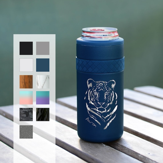 Personalized Can Cozie   Custom Birthday Gift   Engraved 12oz Elemental Slim Can Cooler   Insulated Beverage Holder, Seltzer Can Cooler