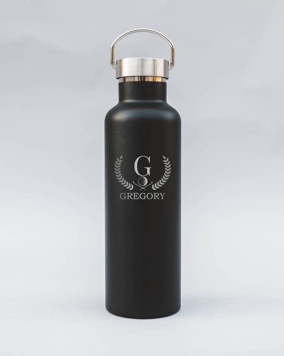 Personalized Engraved Initial Design Water Bottle | Your Initial on Double-Insulated Water Bottle | Elemental Bottles | 25 oz. w/ Bamboo Cap