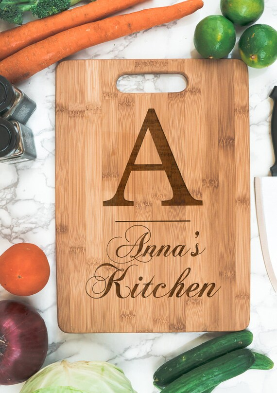 Kitchen Personalized  Bamboo Cutting Board | Initial Name housewarming gift | personalized kitchen | cook gift | personalized Christmas gift