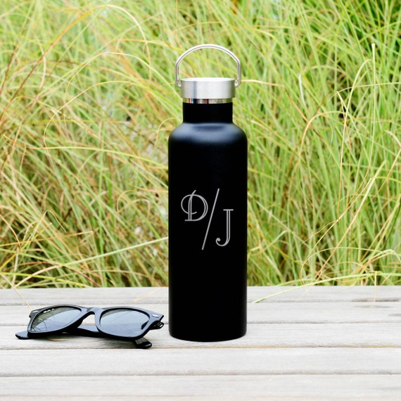 Two Initials Monogram Engraved on Elemental Insulated Water Bottle 25oz | Unique Gift Ideas | Couple's Gift | Birthday Gift | Monogram Gift