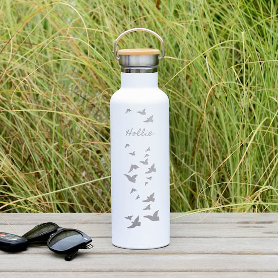Personalized Text on Double Walled Stainless Steel Water Bottle with Birds Design 25oz | Personalized Christmas Gifts | Birthday Gifts