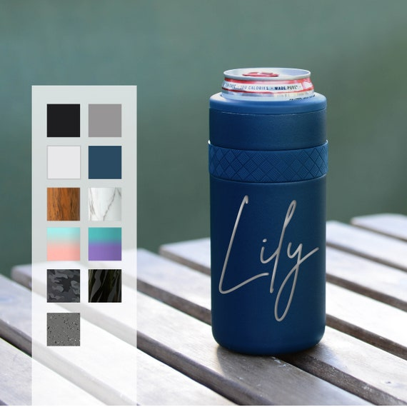 Personalized Can Cozie | Custom Birthday Gift | Engraved 12oz Elemental Slim Can Cooler | Insulated Beverage Holder, Seltzer Can Cooler