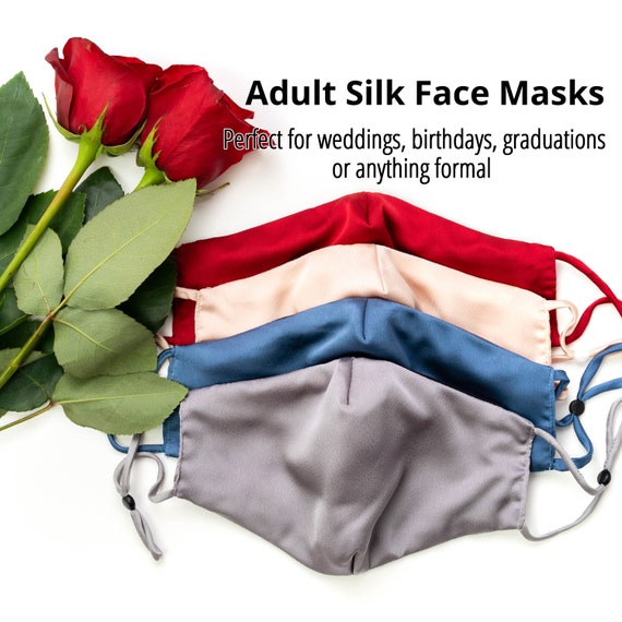 Silk Mask 3 Layers with Adjustable Silk Straps and Cotton Inner Side - Soft Face mask for Women and Teens - Wedding Masks