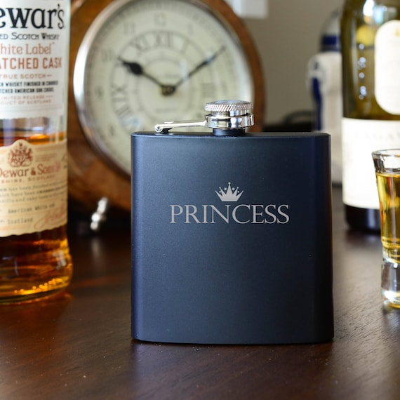 Laser etched flask   princess flask   cute flask   black birthday flask   birthday gift   bridesmaid gift   princess gift   #FB0042