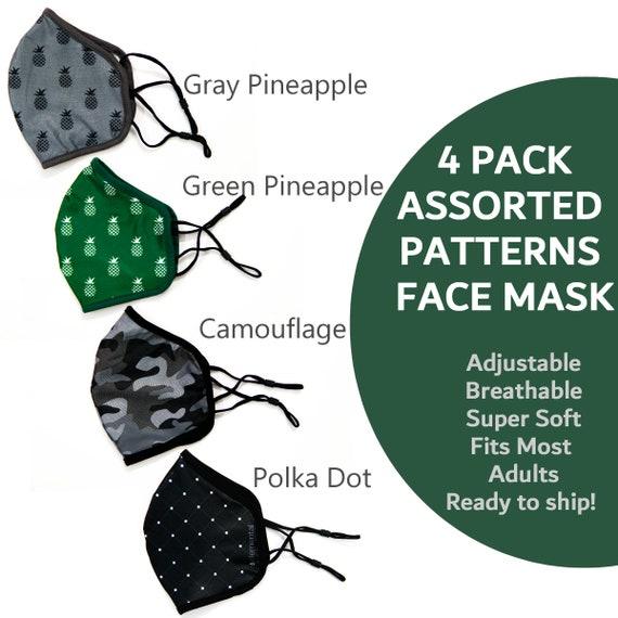 Adult  Face Masks Fashion Face Mask Pack of 4, Cooling Face Masks, Adjustable Ear Loops. Moisture Wicking Masks with Built-in Filter Pocket