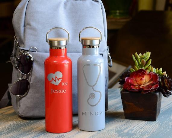 Nurse Stainless Steel Water Bottle Nurse Design 25oz | Personalized Nurse Gifts | Funny Tumbler Gifts | Registered Nurse