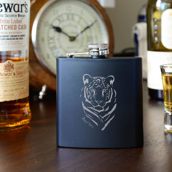 Personalized flask | tiger flask | birthday flask | natural wood flask | name on flask | personalized gift | graduation gift | #FSK053