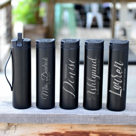 Wedding & Anniversary Gifts Personalized Stainless Steel Water Bottle | Elemental Iconic Insulated Bottes | Groomsmen, Bridesmaid
