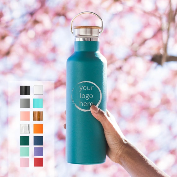 Personalized Name Insulated Stainless Steel Water Bottle 25oz Elemental Custom Engraved Text or Name |Employee Gifts |Custom Logo Engraving