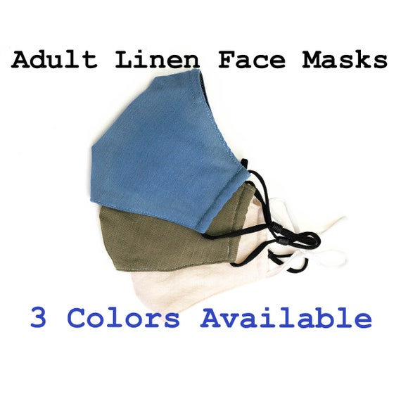 Adult Face Mask with Nose-Wire, High Quality Linen, 3 Layers Linen and Cotton Soft Face mask, Filter Pocket, Elastic Ear Loops, Anti-Fog