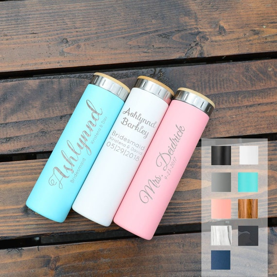 Bridesmaid Gift Personalized Stainless Steel Water Bottle 20oz   Iconic Insulated Bottes   Groomsmen, Bridesmaid   Wedding Planning