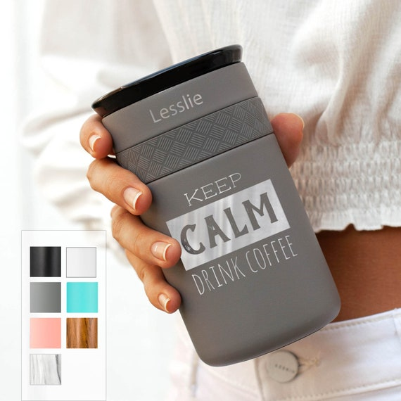 Personalized Engraved Tumbler, Insulated Stainless Steel Coffee Tumbler 12oz w/CERAMIC Lid - 6hrs hot | 18 hrs cold | Best Gift