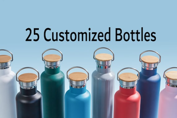 25-Pack Personalized Stainless Steel Water Bottle - Laser Engraved 25oz Double Walled Vacuum Insulated Bottle