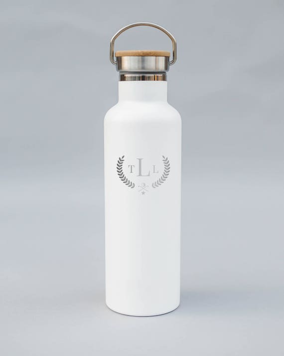 Classic Style Personalized Engraved Golf Water Bottle | Double-Insulated Water Bottle | Elemental Bottles | 25 oz. with Bamboo Cap