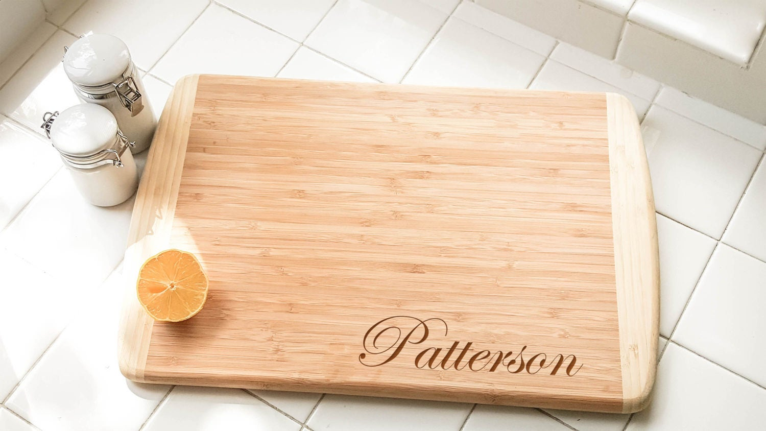 personalized large two tone bamboo cutting board etsy. Black Bedroom Furniture Sets. Home Design Ideas