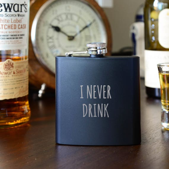 Laser etched flask | funny flask | black birthday flask | ironic flask | bachelorette gift | bachelor gift | don't drink flask | #FB0078