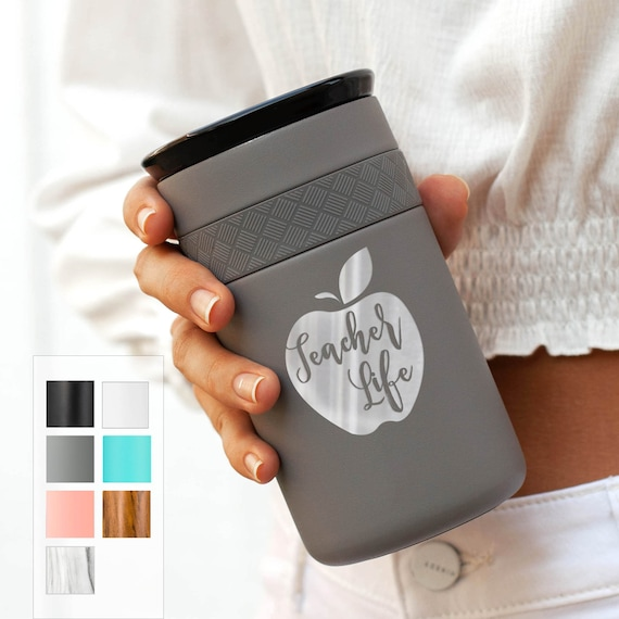 Teacher Life Gift Stainless Steel Coffee Tumbler Personalized 12oz with CERAMIC Lid - 6hrs hot   18 hrs cold   Best Gift for Coffee Lovers