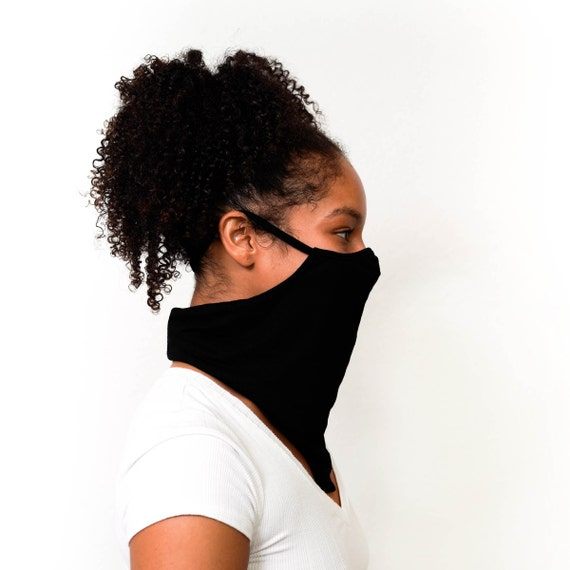Black Neck Gaiter with Filter Pocket for Men and Women with, 3D Nose Contour, Ear loop Cooling Neck Gaiter Mask, Natural Moisture Wicking