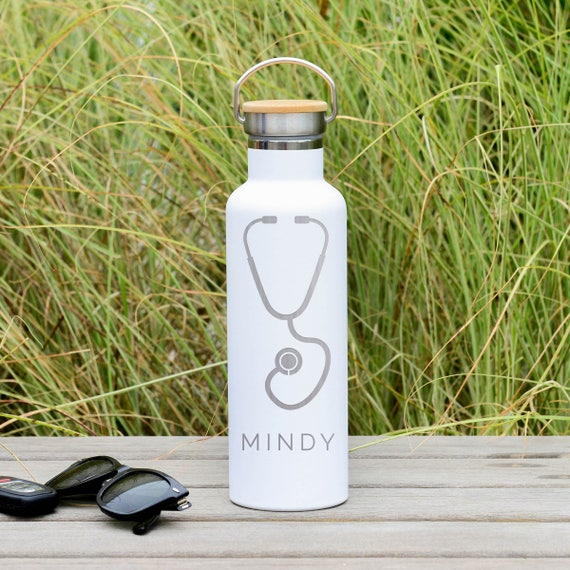 Custom Engraved Stethoscope Design with Personalized Name on Insulated Stainless Steel Water Bottle  25oz | Registered Nurse Gifts | Doctor