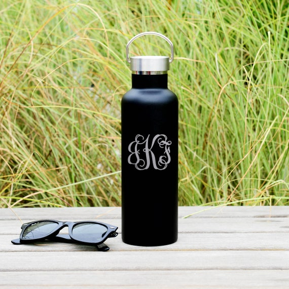 Classic Interlocking 3-Letters Monogram Custom Engraved on Insulated Water Bottle 750ml | Wedding Party Gifts | Unique Birthday Gifts