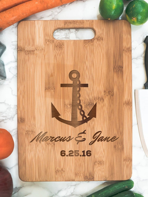 Anchor couple cutting board engraved bamboo | name  date housewarming gift | personalized kitchen | cook gift | personalized Christmas gift