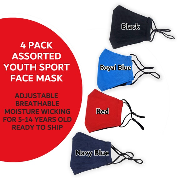 Teen Sport Mask Pack, with Filters Pocket, 3 Layer Washable Mask Adjustable Ear Loops, 3ply kids cooling masks   Comfortable Breathable