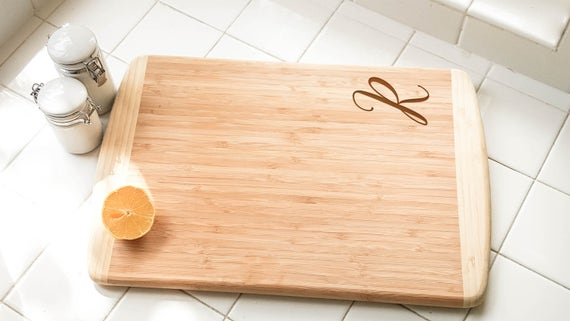 """Personalized Large Two-Tone Bamboo Cutting Board 18""""x12"""" 