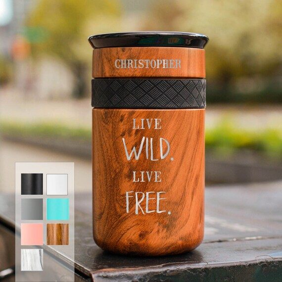 Live Life Live Free Personalized Stainless Steel Coffee Tumbler Personalized 12oz with CERAMIC Lid - Best Gift Coffee lovers
