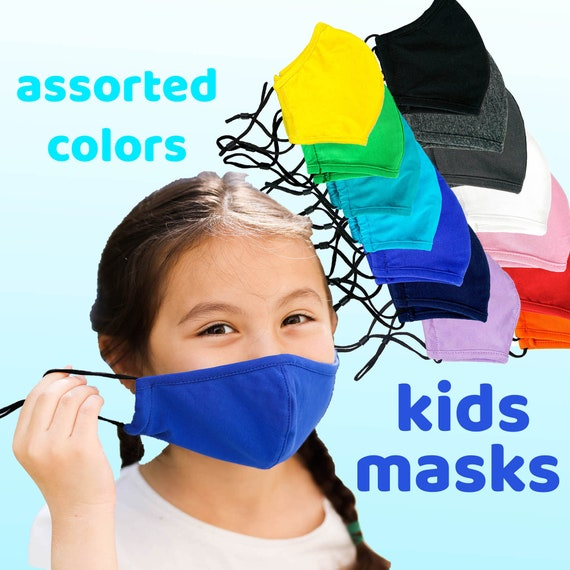 10 pack+ Youth Masks Washable Reusable with Filter Pocket, Adjustable Ear Loops - Wholesale Solid Colors
