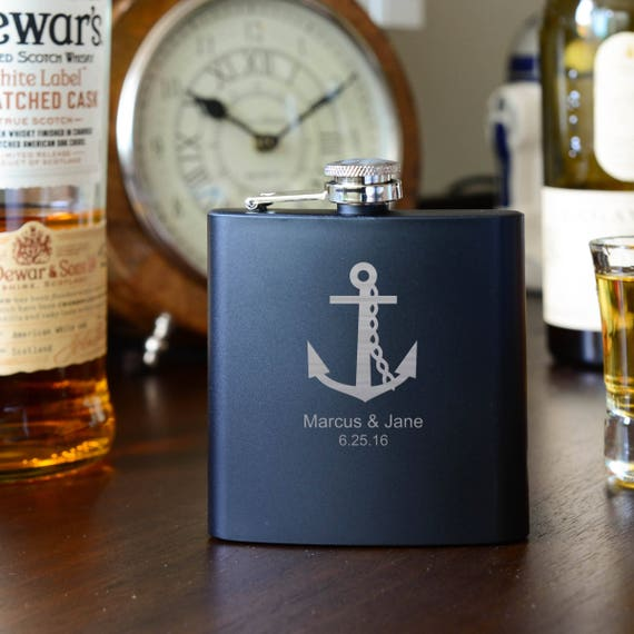 Personalized flask | anchor flask | couple flask | groom flask | wedding flask | bachelor flask | anniversary flask | ocean flask | #FB0060