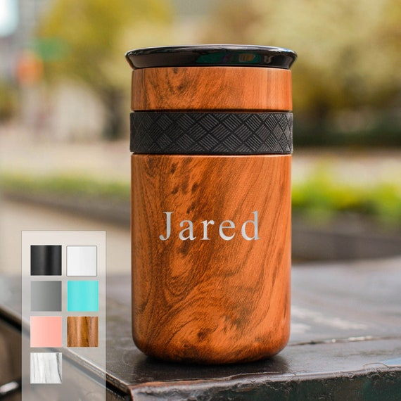 Personalized Insulated Tumbler, Stainless Steel Coffee Tumbler 12oz with CERAMIC Lid - 6hrs hot | 18 hrs cold | Best Gift for Coffee Lovers