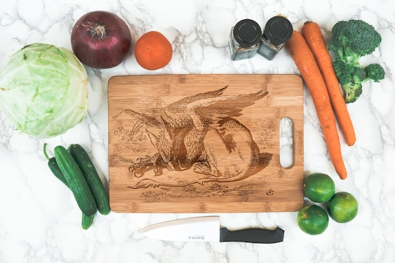 Gryphon cutting board engraved bamboo | Alice Wonderland griffin cutting board | kitchen cook gift | unique cutting board | book reader gift